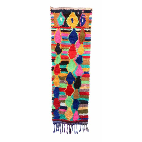 Boucherouite Vintage Moroccan Hand Knotted Wool Yellow/Blue/Red Area Rug  by Indigo&Lavender