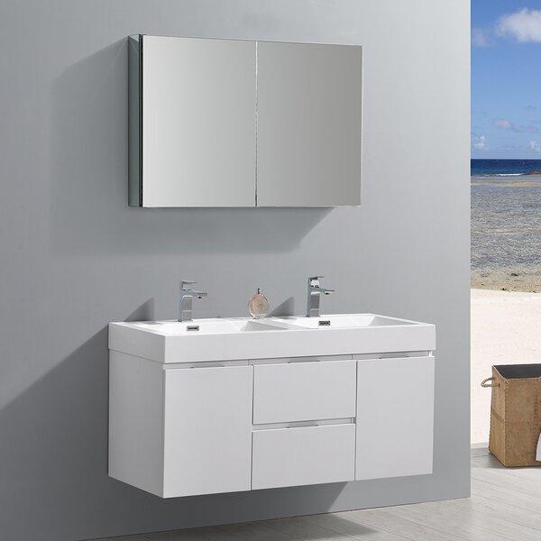 Senza Valencia 48 Wall Mounted Double Bathroom Vanity Set with Mirror by Fresca