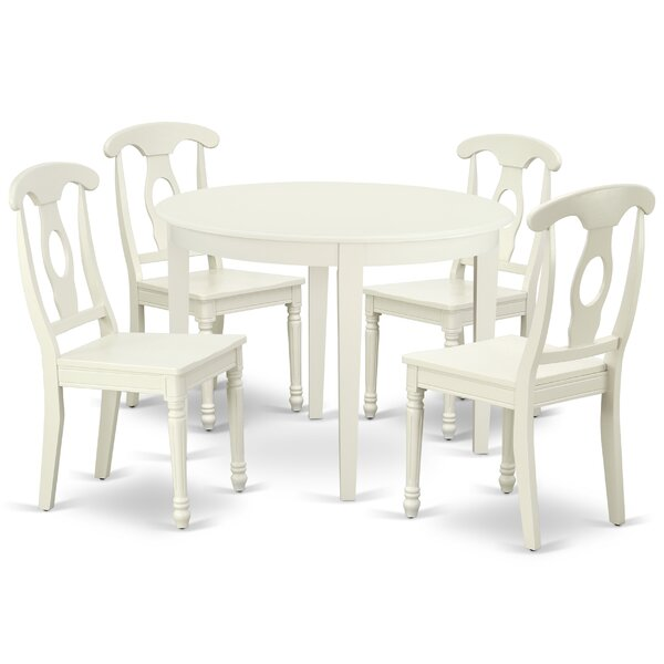 Kratzer 5 Piece Solid Wood Breakfast Nook Dining Set by August Grove