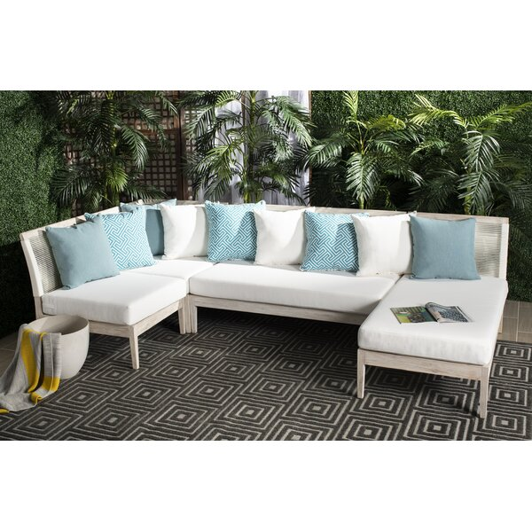 Darvin Teak Patio Sectional with Cushions by Bungalow Rose