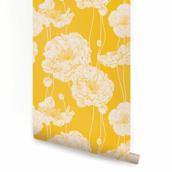 Mullen 24 W Peony Peel and Stick Wallpaper Panel by Rosdorf Park