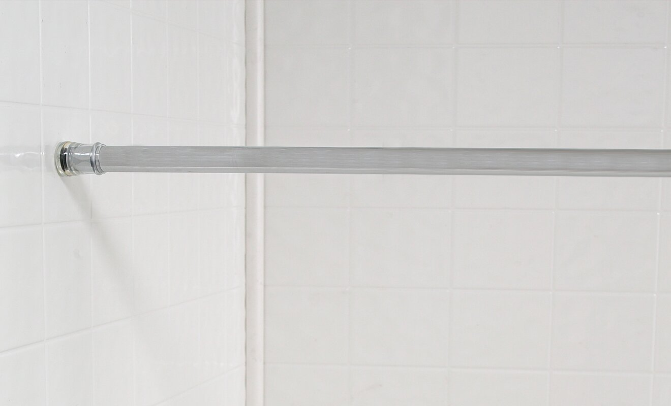 wayfair basics wayfair basics 76 adjustable straight tension shower curtain rod reviews. Black Bedroom Furniture Sets. Home Design Ideas