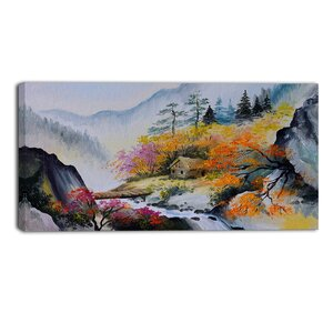 House in the Mountains Landscape Painting Print on Wrapped Canvas by Design Art