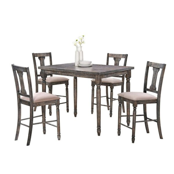 Larissa Wooden 5 Piece Counter Height Pub Table Set by Ophelia & Co.