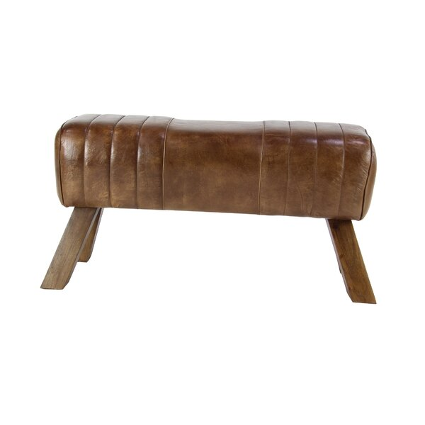 Wilbraham Rustic Leather Accent Stool by Union Rustic