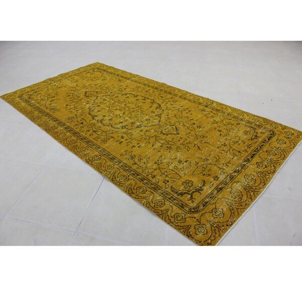 Vintage Hand-Knotted Gold Area Rug by Wildon Home ®