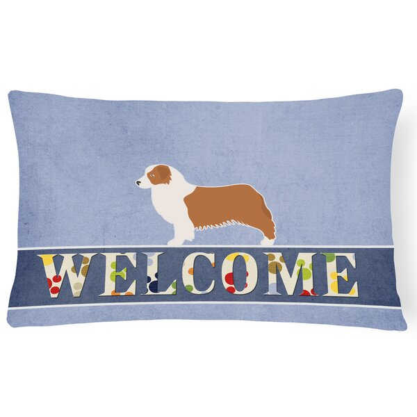 Duffey Australian Shepherd Dog Welcome Lumbar Pillow by Red Barrel Studio