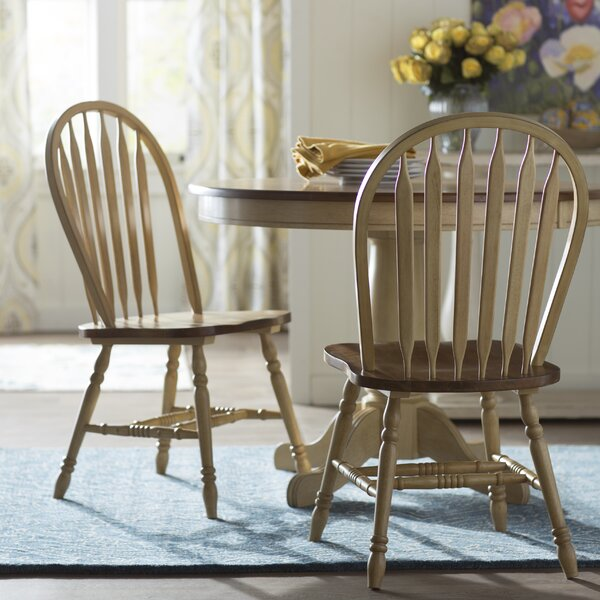 Clyde Arrow Back Solid Wood Dining Chair (Set of 2) by Alcott Hill