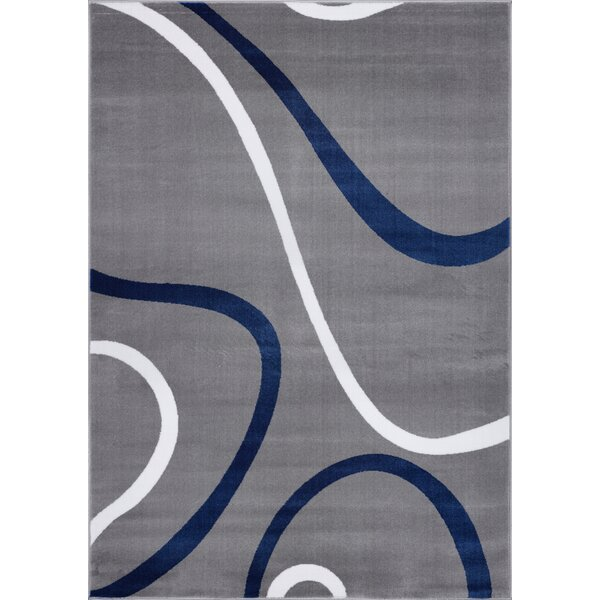 Joey Contemporary Spirals Handmade Gray/Blue Area Rug by Orren Ellis