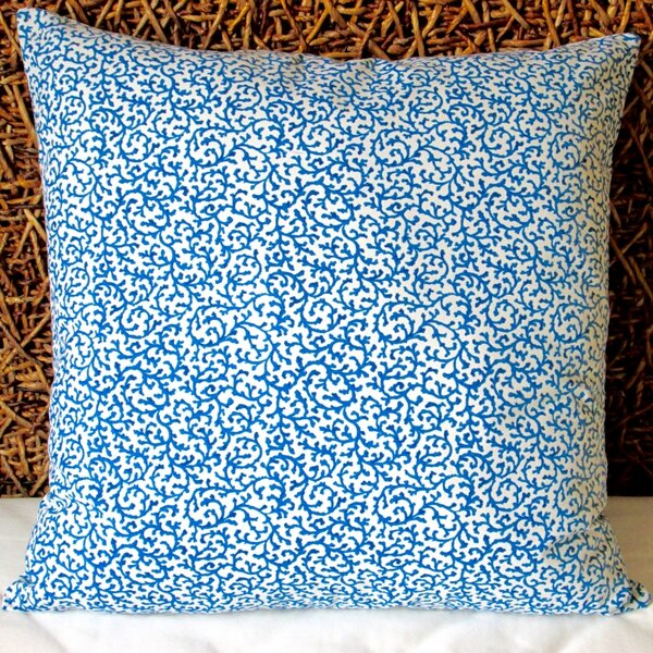 Coral Reef Curl Surf in Modern Coastal Beach Indoor Cotton Throw Pillow by Artisan Pillows