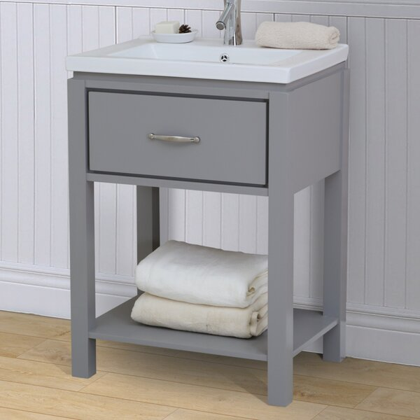 24 Single Bathroom Vanity Set with Open Shelf by InFurniture