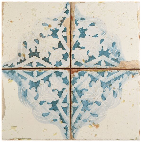 Artisanal 13 x 13 Ceramic Field Tile in Azul/Beige by EliteTile