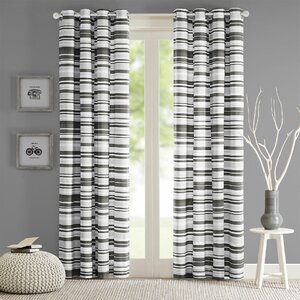 Sadie Striped Semi-Sheer Grommet Single Curtain Panel