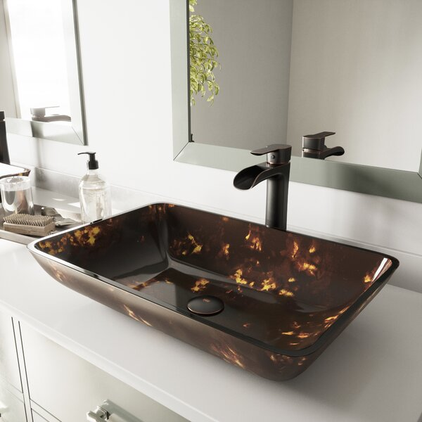 Glass Rectangular Vessel Bathroom Sink with Faucet