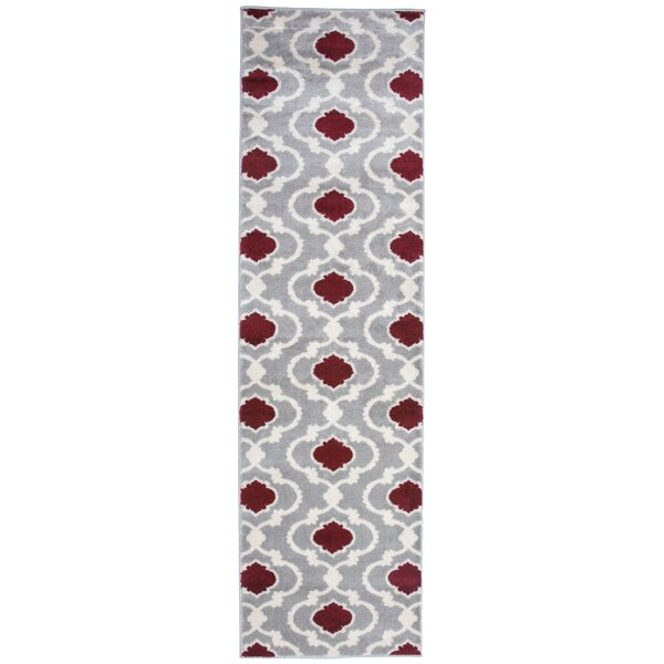 Eric Moroccan Trellis Red/Gray Area Rug by Andover Mills