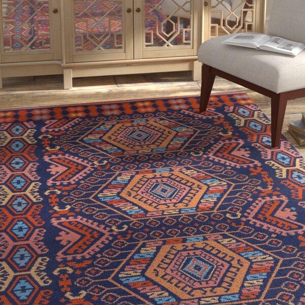 Keeter Handmade Poppy Red/Navy Blue Indoor/Outdoor Area Rug by Bloomsbury Market