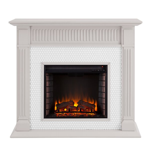 Chessing Penny-Tiled Alexa-Enabled Smart Firebox Fireplace By Latitude Run