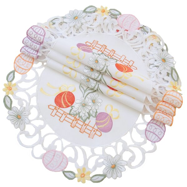 Country Egg Embroidered Cutwork Round Easter Placemat (Set of 4) by The Holiday Aisle