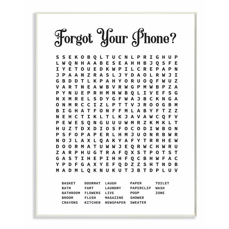 crossword puzzle word graphic bathroom phone