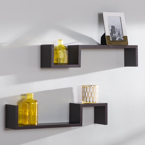 Decorative S Shaped Wall Accent  Shelf (Set of 2)