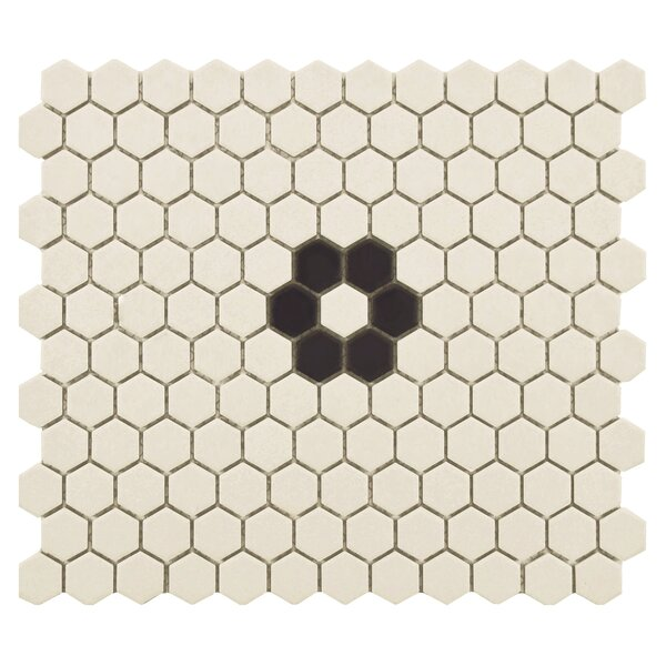 New York Hexagon 0.875 x 0.875 Porcelain Unglazed Mosaic Tile in Textured Black/Cream by EliteTile