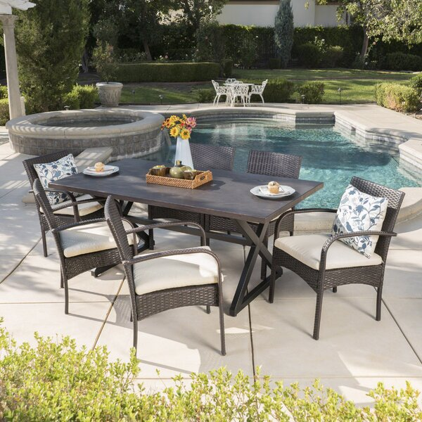 Neville 7 Piece Dining Set with Cushions by Breakwater Bay