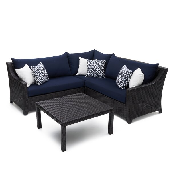 Northridge 4 Piece Rattan Sectional Seating Group with Sunbrella Cushions by Three Posts