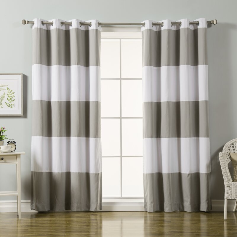 Sammy Striped Blackout Thermal Grommet Curtain Panels