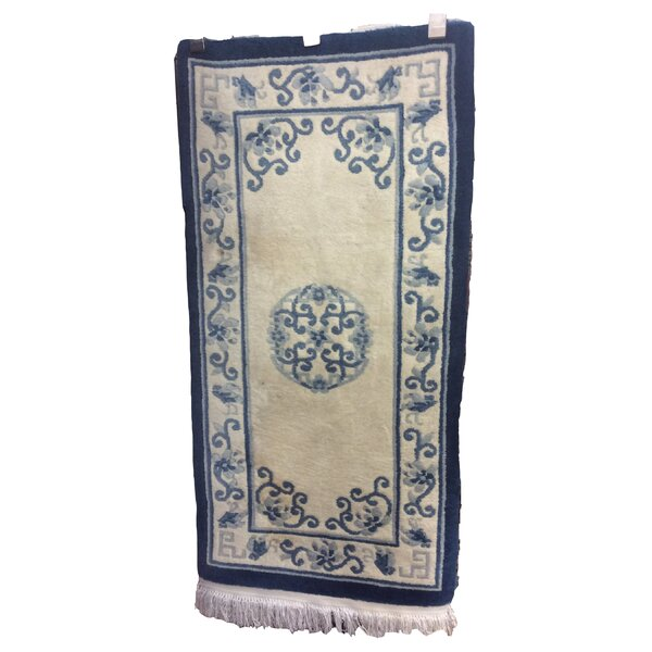 One-of-a-Kind Ducksworth Chinese Peking Art Deco Hand-Knotted Wool Ivory/Blue Area Rug by Canora Grey