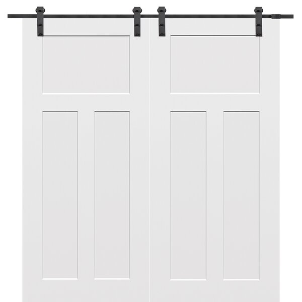 Molded Primed Craftsman 3 Panel Interior Barn Door by Verona Home Design