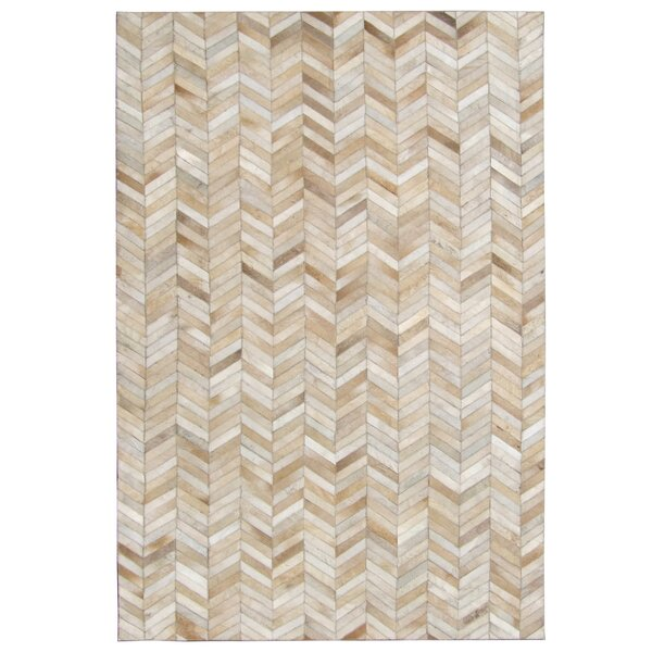 Chantrell Chevron Hand Woven Cowhide Tan Area Rug By 17 Stories.