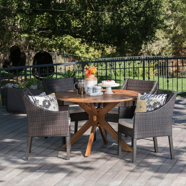 Pifer Outdoor Wicker Rectangular 5 Piece Dining Set with Cushions by Gracie Oaks
