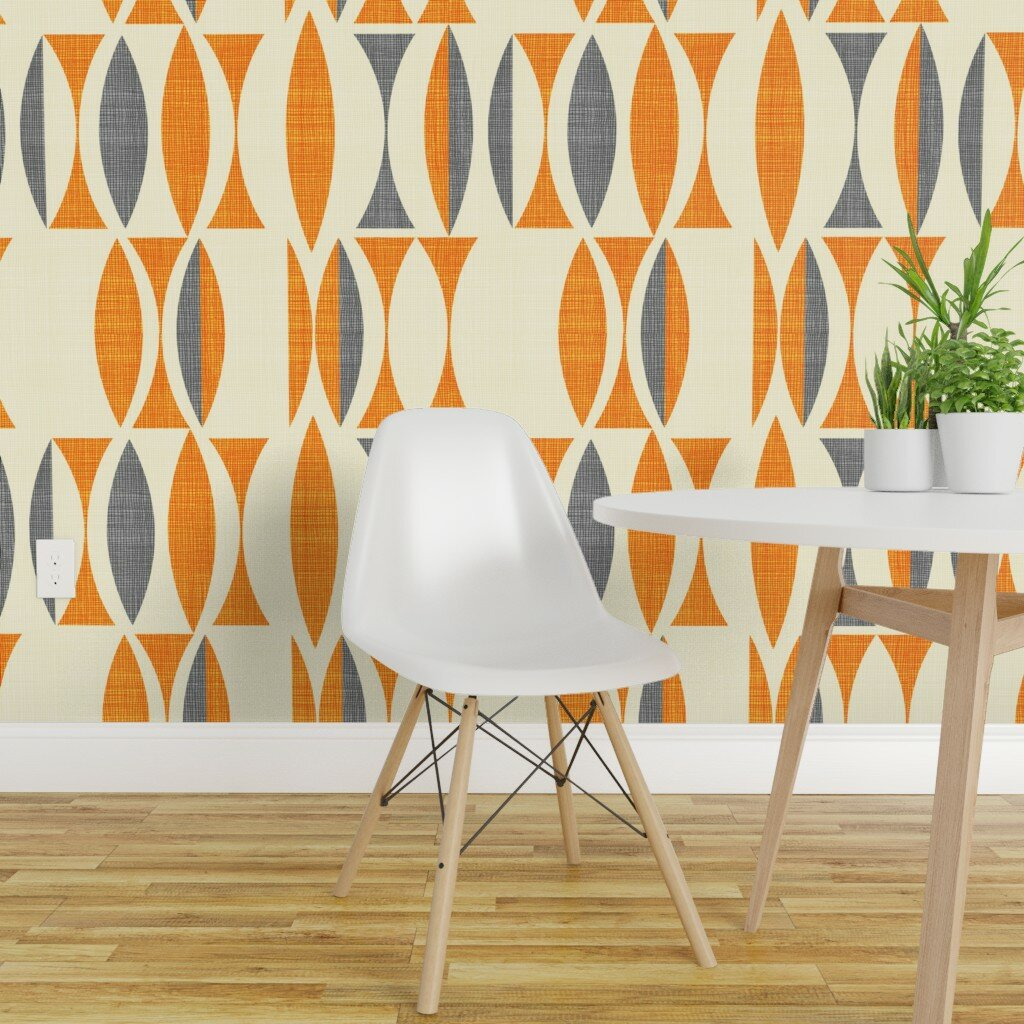 vintage peel and stick removable wallpaper mid century modern field orange grey abstract geometric vintage inspired abstract retro woven textured self adhesive wallpaper panel roll or swatch