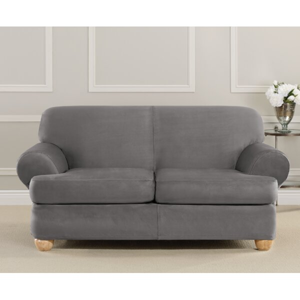Ultimate Heavyweight Stretch Suede T-Cushion Loveseat Slipcover