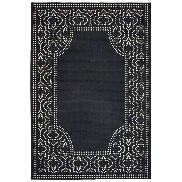 Salerno Intricate Border Black/Ivory Indoor/Outdoor Area Rug by Charlton Home