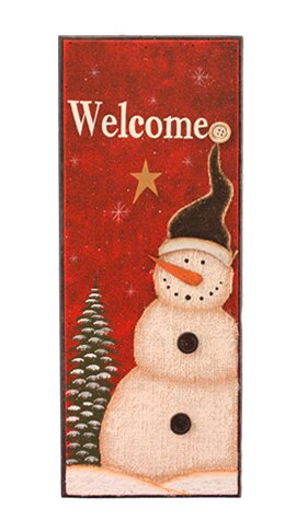 Welcome Snowman Sign Graphic Art Print on Wood by