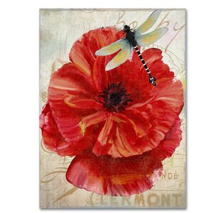 'Le Pavot Dragonfly' by Color Bakery Graphic Art on Wrapped Canvas by Trademark Fine Art