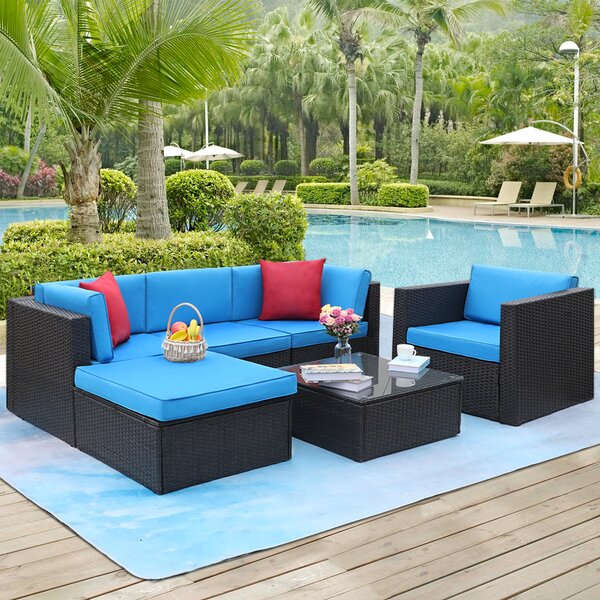 Stouchsburg 6 Piece Rattan Sectional Seating Group with Cushions by Ebern Designs