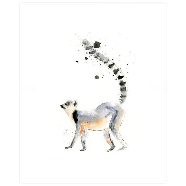 Madalynn Watercolor Lemur by SeeWhyZhang Design Paper Print by Ebern Designs
