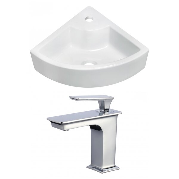 Ceramic 27 Wall Mount Bathroom Sink with Faucet by Royal Purple Bath Kitchen