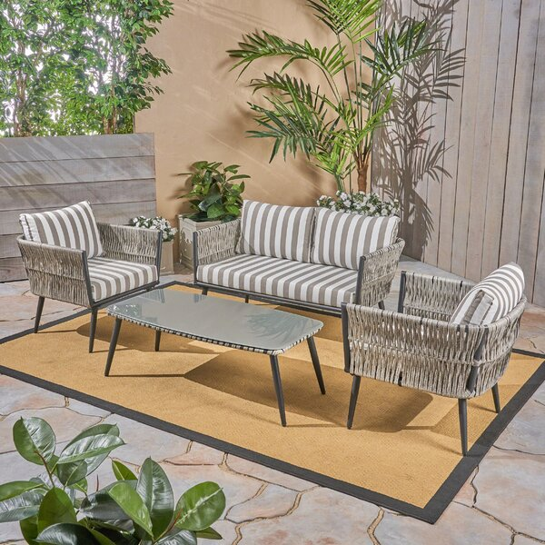 Liberatore 4 Piece Seating Group with Cushions by Bungalow Rose