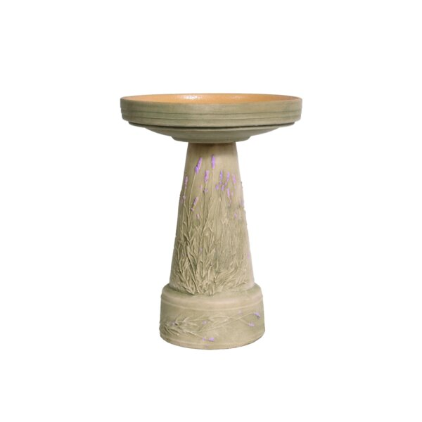 Burley Clay Handpainted Lavendar Birdbath by Birds Choice