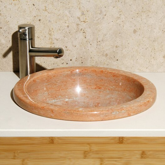 Sunset Mist Stone Circular Drop-In Bathroom Sink by Allstone Group
