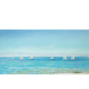 Mermaid Yacht Sailing by Sandra Francis Painting Print on Wrapped Canvas by Portfolio Canvas Decor