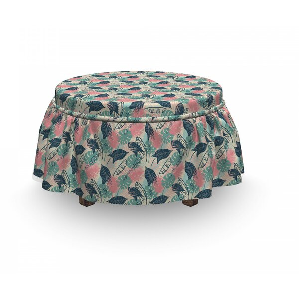 Continuous Exotic Leaves Ottoman Slipcover (Set Of 2) By East Urban Home