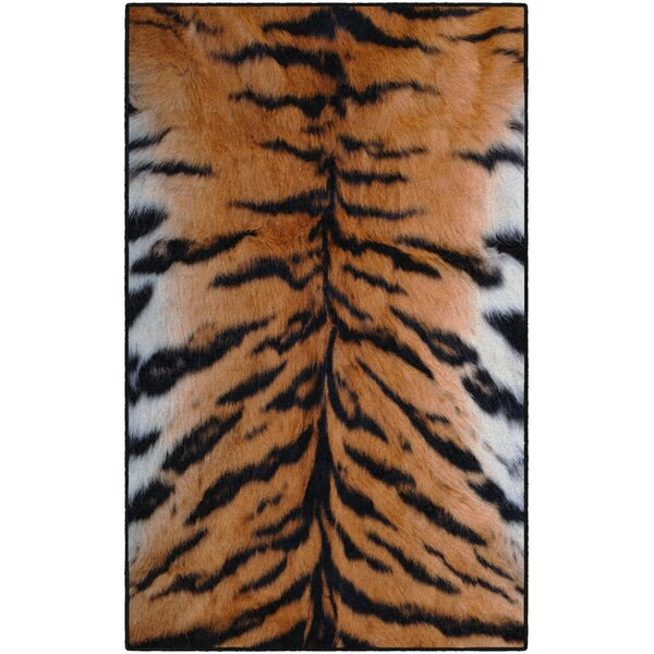 Latham Stripes Print Orange/Black Area Rug by World Menagerie