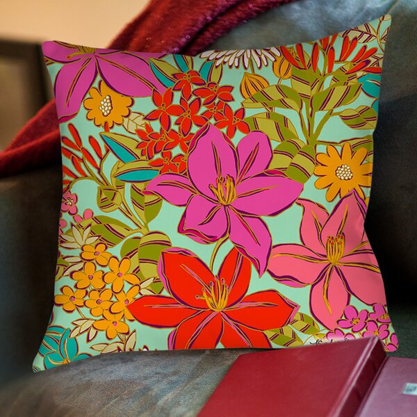 Main Mint Printed Throw Pillow by Manual Woodworkers & Weavers