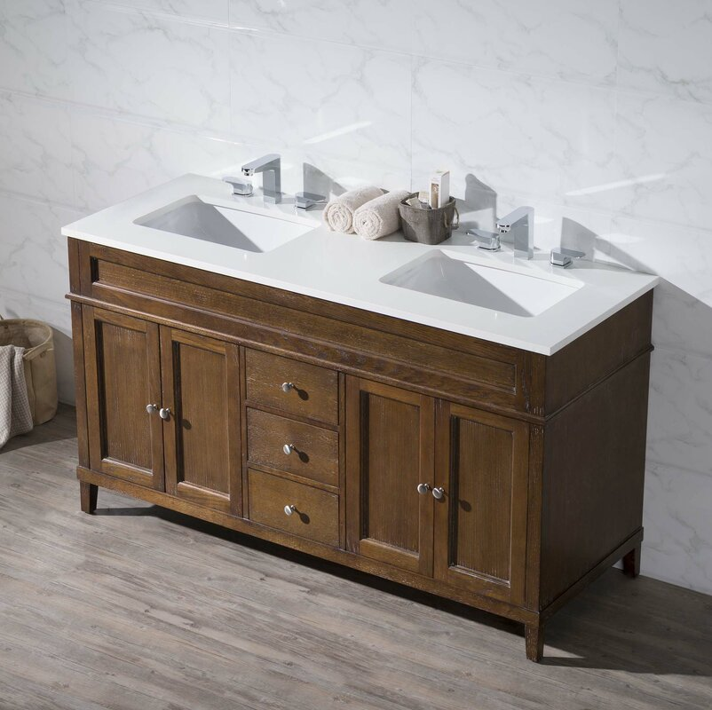 Oakmont 59  Double Sink Bathroom Vanity Set 96 Inch Wayfair