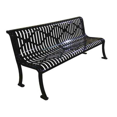 Armless Roll Formed Diamond Metal Park Bench by Leisure Craft