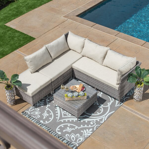 Ellenburg 4 Piece Rattan Sectional Seating Group with Cushions by Ivy Bronx